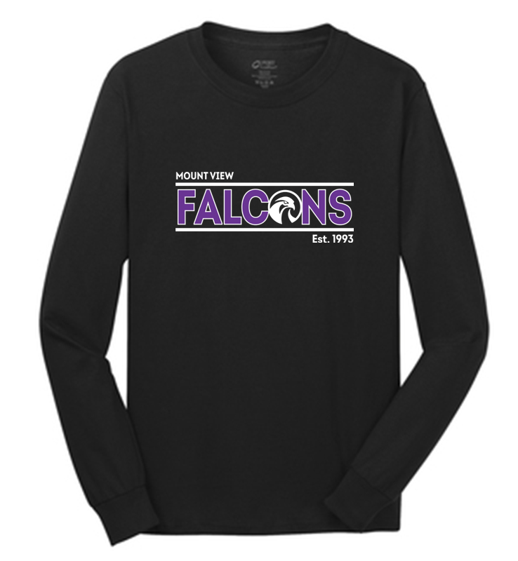 Mount View Falcons Long Sleeve T-Shirt Black